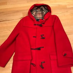 Burberry Duffle Coat w/ Hood Houndstooth Buttons